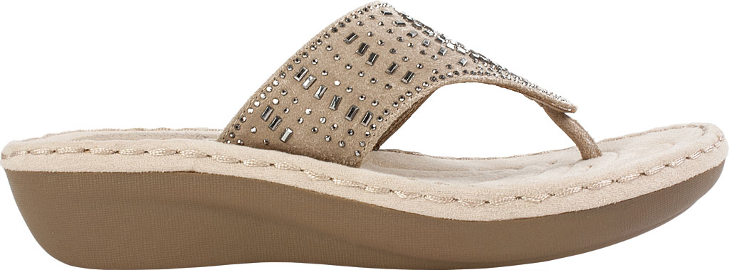 Women's Cliffs by White Mountain Cienna Thong Sandal, Stone Fabric, large, image 2