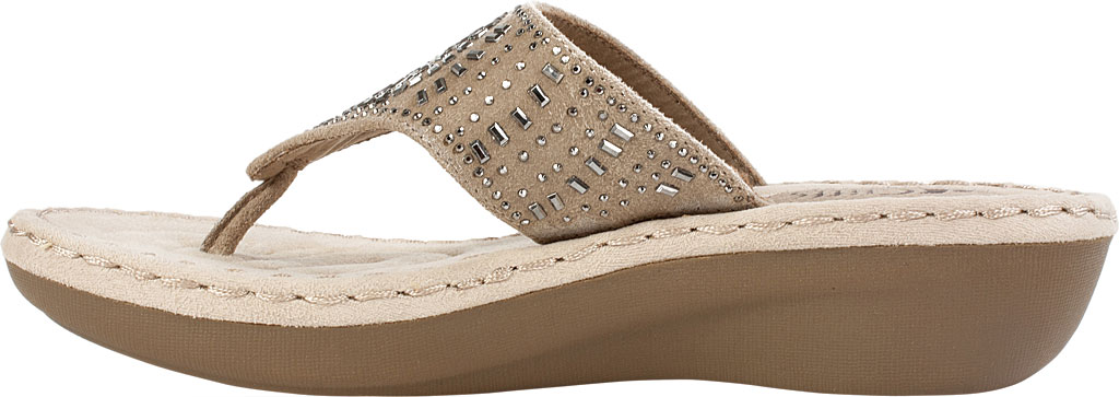 Women's Cliffs by White Mountain Cienna Thong Sandal, Stone Fabric, large, image 3
