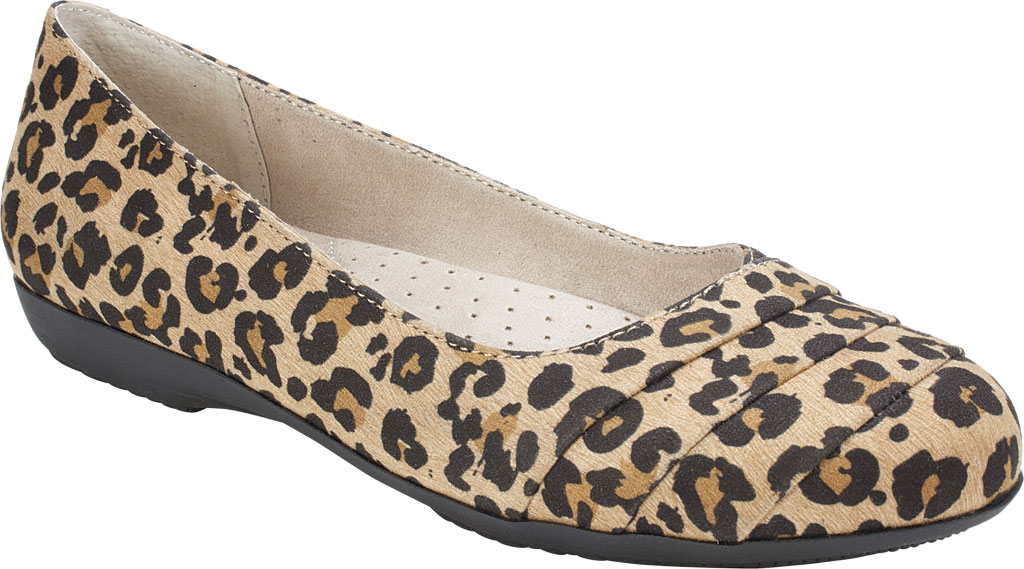 Women's Cliffs by White Mountain Clara Flat, Tan/Leopard Textile, large, image 1