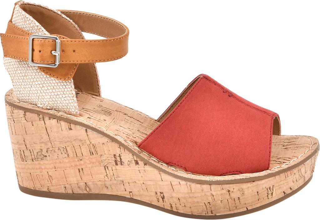 Women's White Mountain Sarabella Wedge Sandal, Red Microsuede Fabric, large, image 1