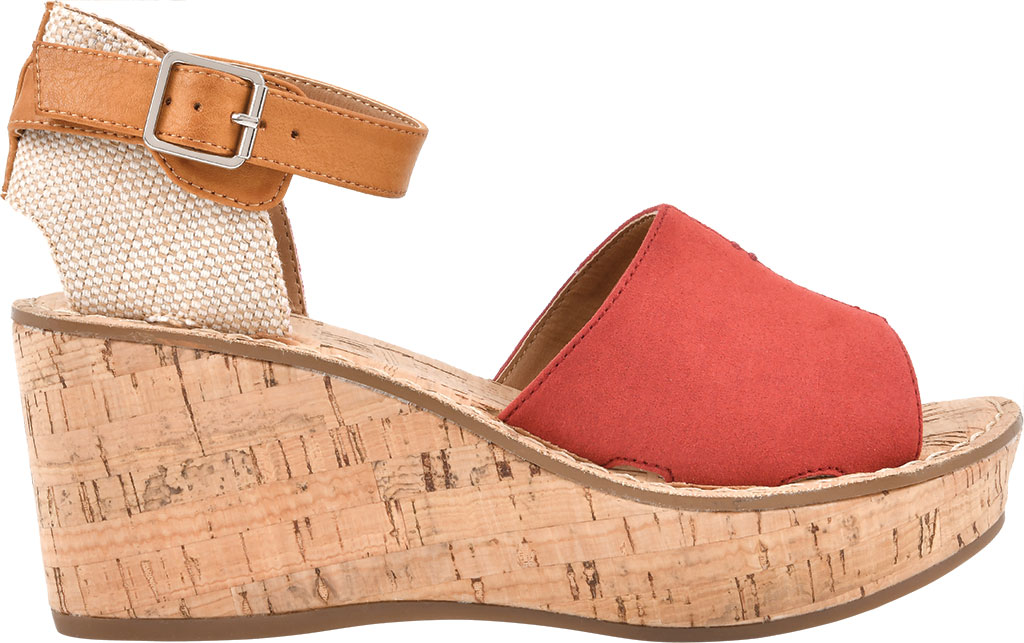 Women's White Mountain Sarabella Wedge Sandal, Red Microsuede Fabric, large, image 2