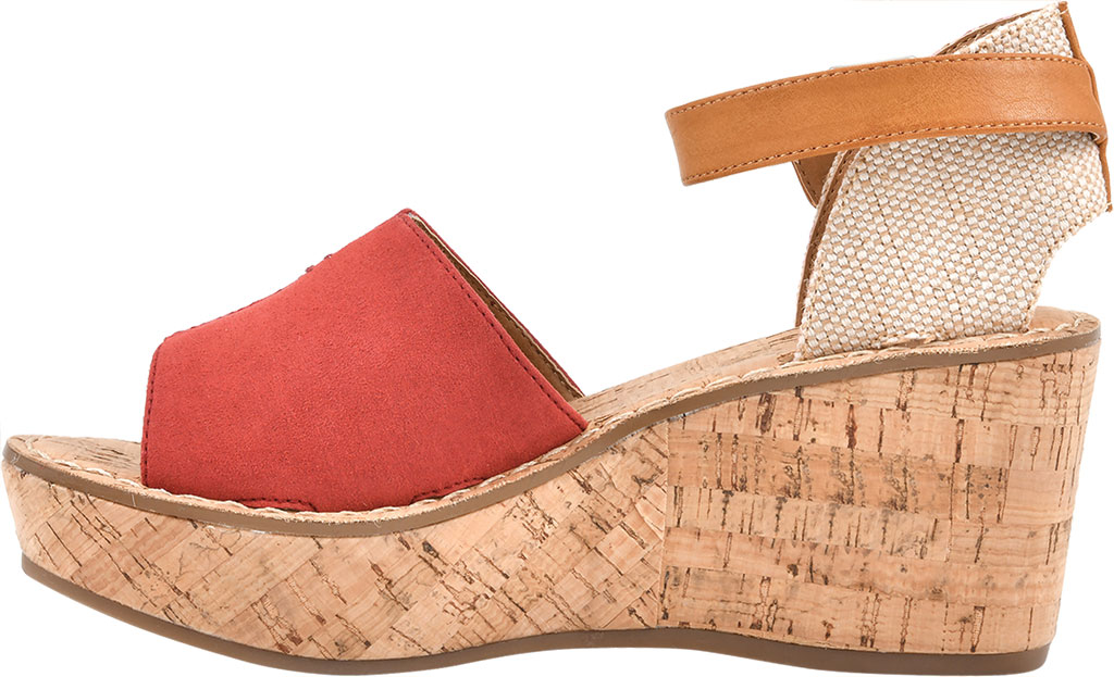 Women's White Mountain Sarabella Wedge Sandal, Red Microsuede Fabric, large, image 3