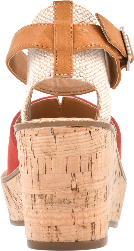 Women's White Mountain Sarabella Wedge Sandal, Red Microsuede Fabric, large, image 4