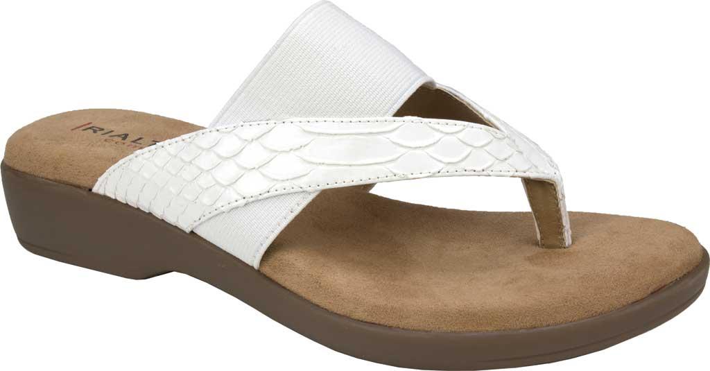 Women's Rialto Bumble Thong Wedge Sandal, White Snake Patent Polyurethane, large, image 1