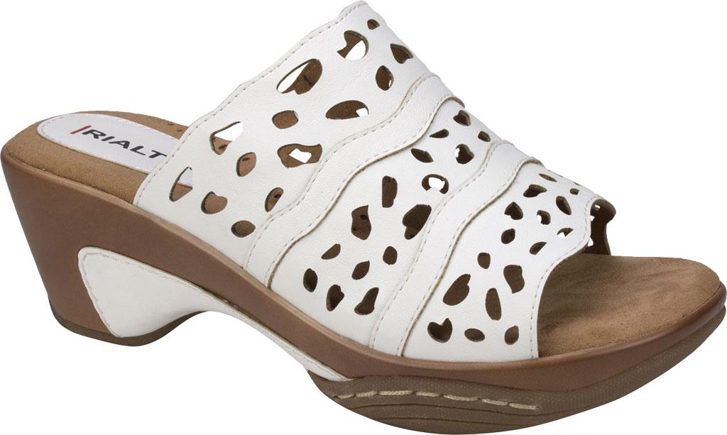 Women's Rialto Vispa Heeled Slide, White Burnished Smooth Polyurethane, large, image 1