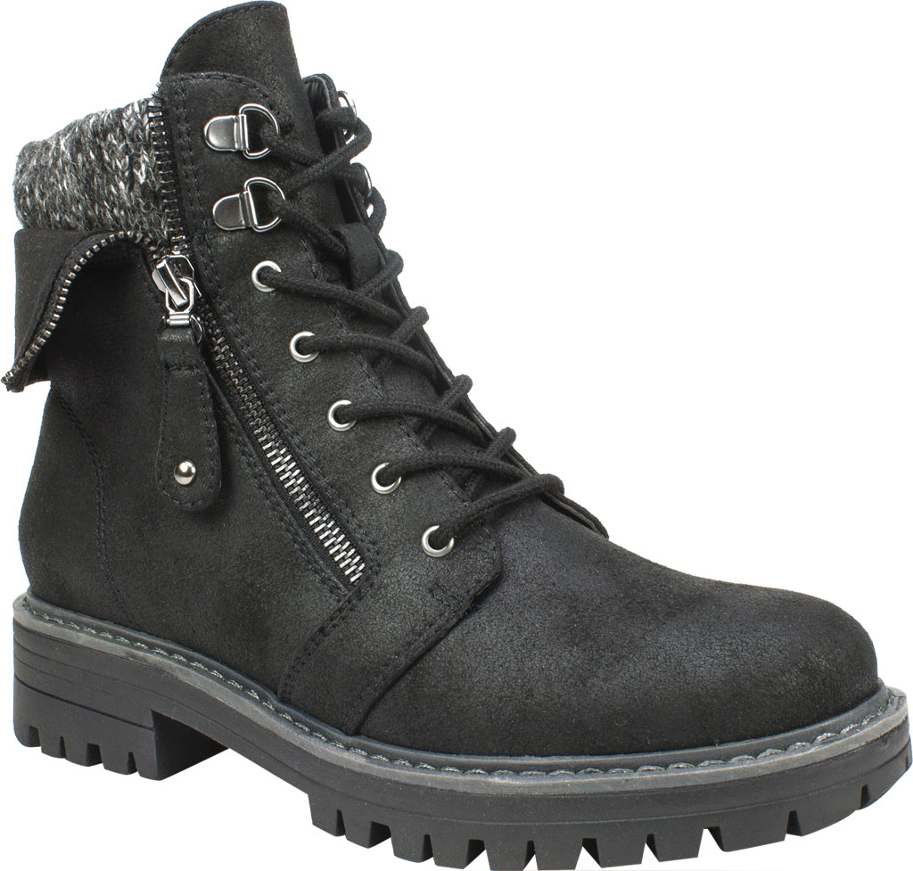 Women's Cliffs by White Mountain Mandy Ankle Boot, Black Distressed Textile/Sweater Fabric, large, image 1