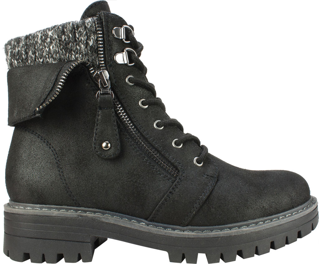 Women's Cliffs by White Mountain Mandy Ankle Boot, Black Distressed Textile/Sweater Fabric, large, image 2