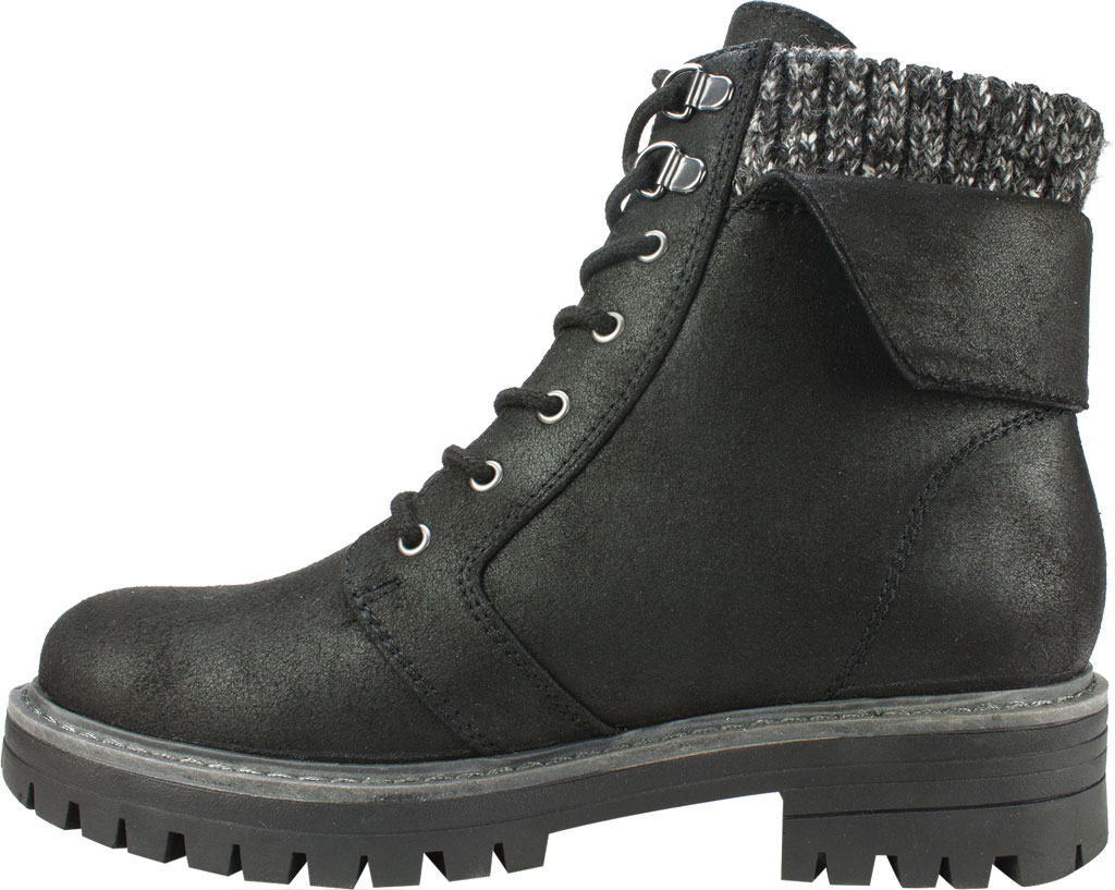 Women's Cliffs by White Mountain Mandy Ankle Boot, Black Distressed Textile/Sweater Fabric, large, image 3