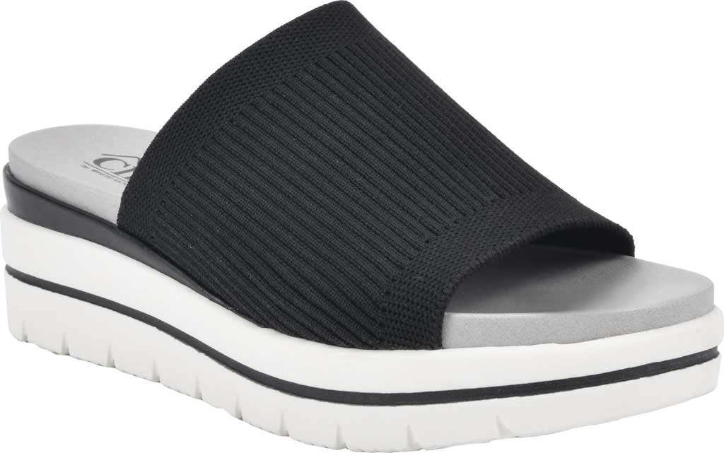 Women's Cliffs by White Mountain Typhoon Knit Wedge Slide, Black Knit Fabric, large, image 1