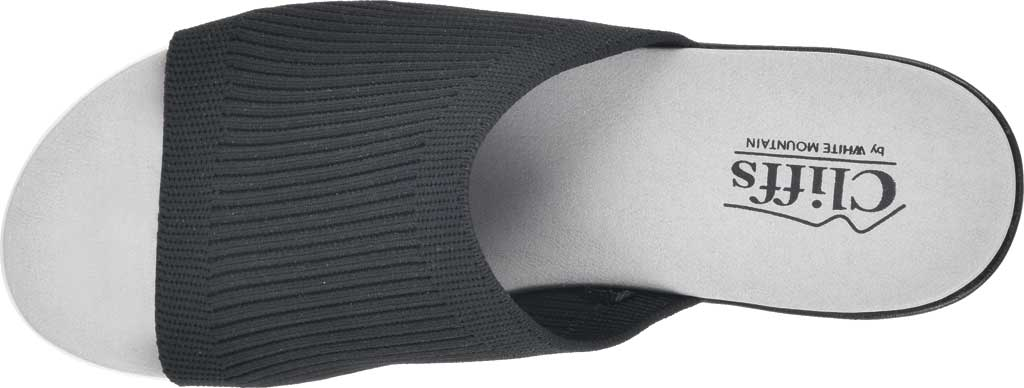 Women's Cliffs by White Mountain Typhoon Knit Wedge Slide, Black Knit Fabric, large, image 5