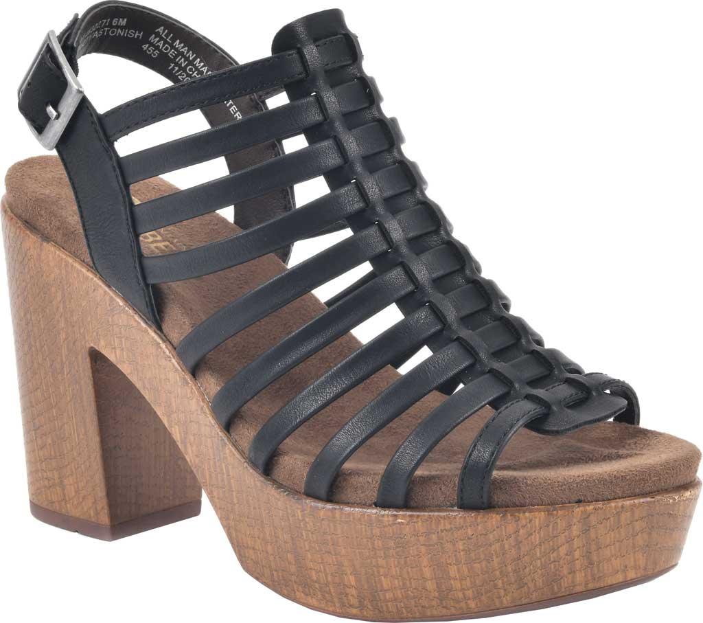 Women's White Mountain Astonish Strappy Heeled Sandal, Black Faux Burnished Leather, large, image 1