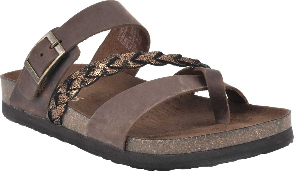 Women's White Mountain Hazy Wedge Toe Loop Sandal, Brown/Bronze Crazy Horse Leather/Metallic Suede, large, image 1