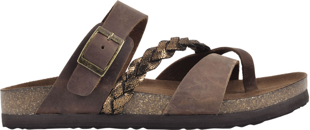 Women's White Mountain Hazy Wedge Toe Loop Sandal, Brown/Bronze Crazy Horse Leather/Metallic Suede, large, image 2