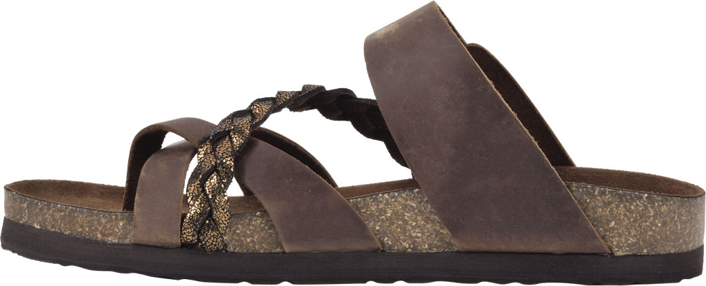 Women's White Mountain Hazy Wedge Toe Loop Sandal, Brown/Bronze Crazy Horse Leather/Metallic Suede, large, image 3