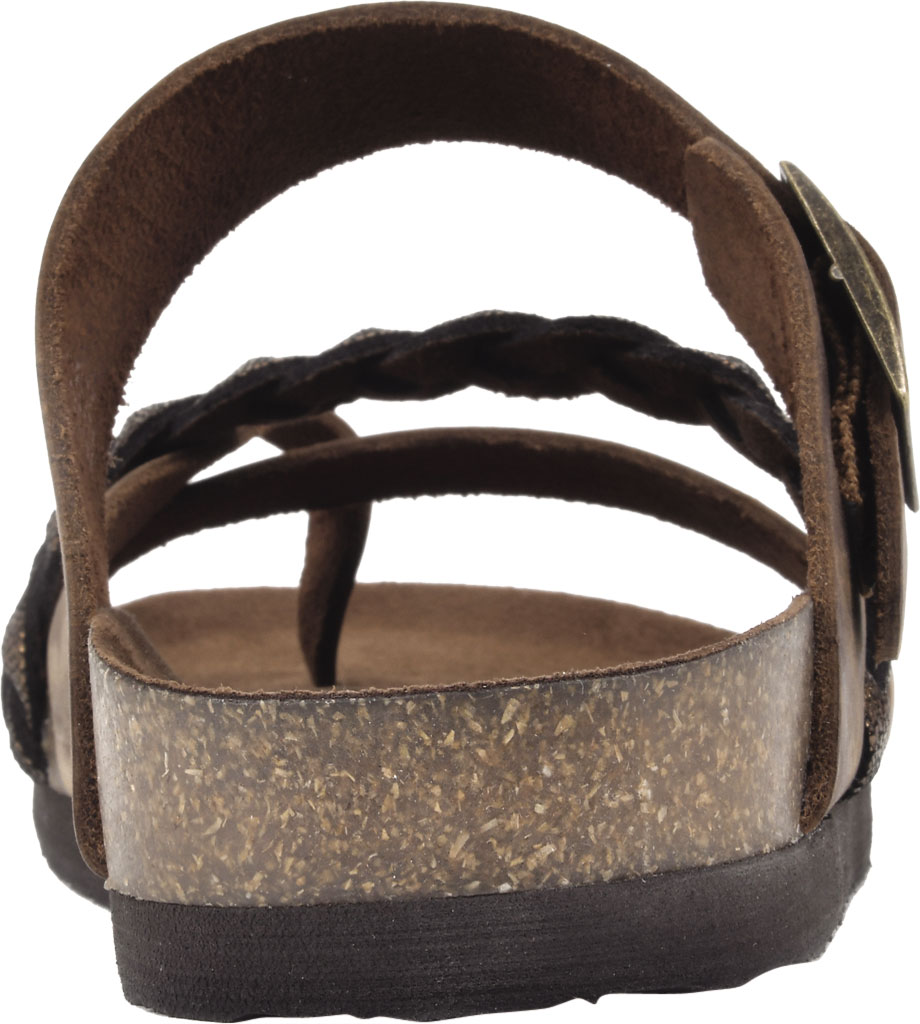 Women's White Mountain Hazy Wedge Toe Loop Sandal, Brown/Bronze Crazy Horse Leather/Metallic Suede, large, image 4
