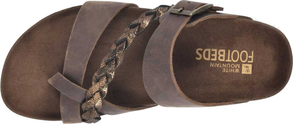 Women's White Mountain Hazy Wedge Toe Loop Sandal, Brown/Bronze Crazy Horse Leather/Metallic Suede, large, image 5