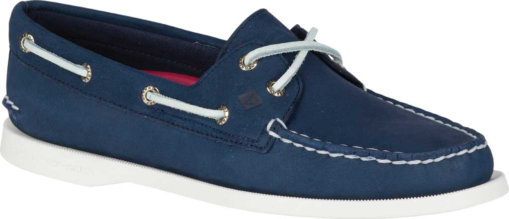 Women's Sperry Top-Sider Authentic Original Boat Shoe, Navy/White Leather, large, image 1