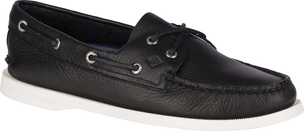 Women's Sperry Top-Sider Authentic Original Boat Shoe, Black/White Leather, large, image 1