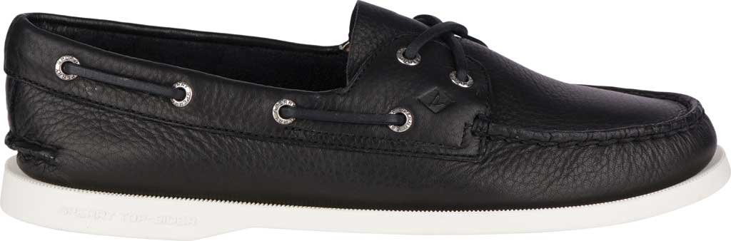 Women's Sperry Top-Sider Authentic Original Boat Shoe, Black/White Leather, large, image 2