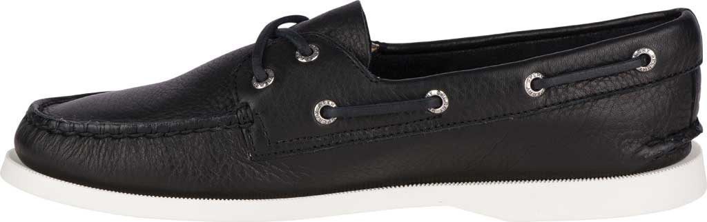Women's Sperry Top-Sider Authentic Original Boat Shoe, Black/White Leather, large, image 3