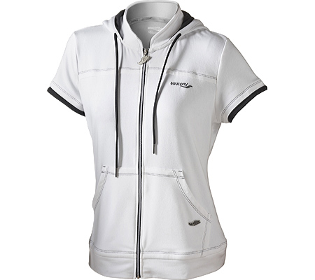 Women's Saucony French Terry Short Sleeve Hoody, White, large, image 1