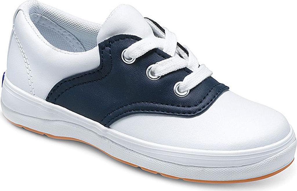 Girls' Keds School Days II Leather Saddle Shoe, White/Navy Leather, large, image 1