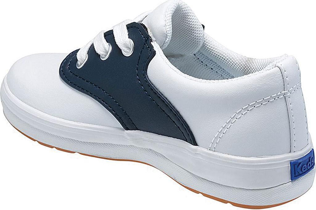 Girls' Keds School Days II Leather Saddle Shoe, White/Navy Leather, large, image 2