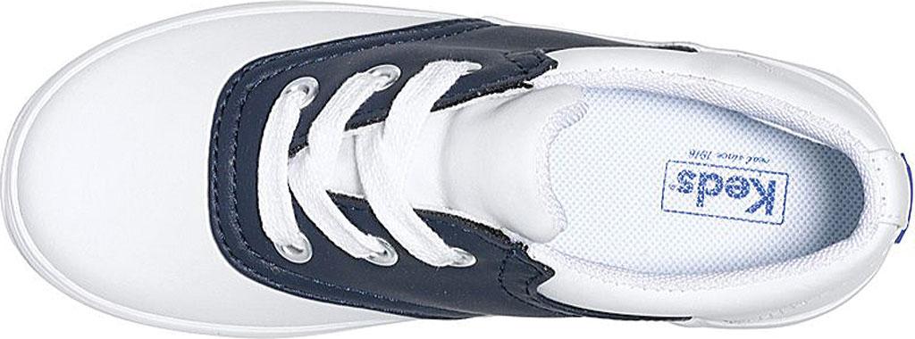 Girls' Keds School Days II Leather Saddle Shoe, White/Navy Leather, large, image 3