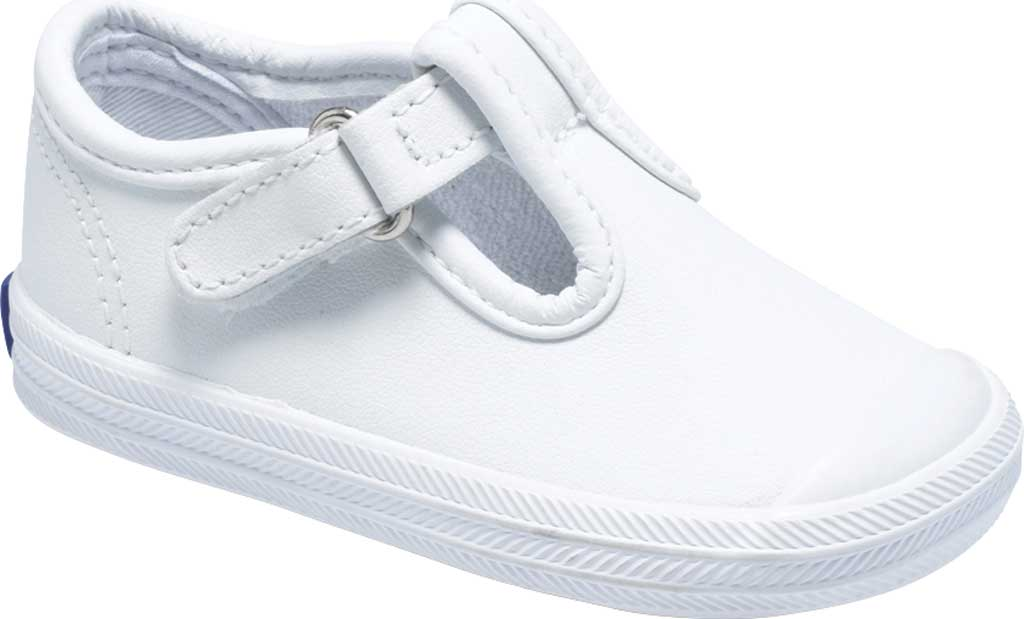 Infant Girls' Keds Champion Toe Cap T-Strap, White Leather, large, image 1