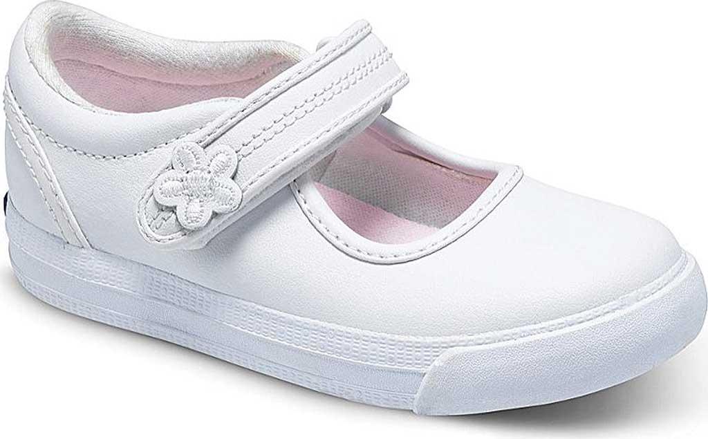 Infant Girls' Keds Ella MJ, White Leather, large, image 1
