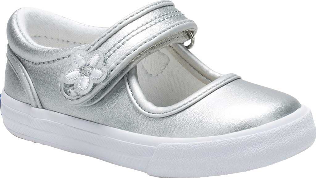 Infant Girls' Keds Ella MJ, Silver Metallic Leather, large, image 1