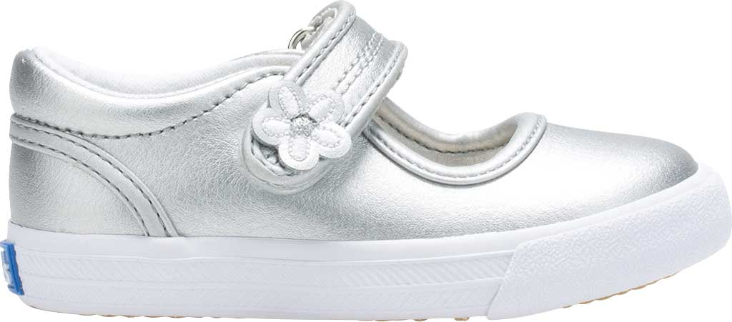 Infant Girls' Keds Ella MJ, Silver Metallic Leather, large, image 2