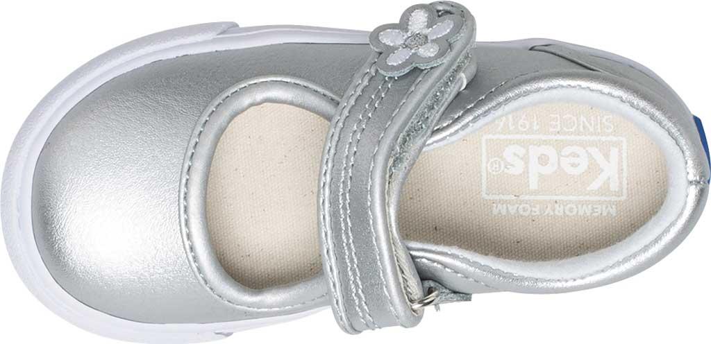 Infant Girls' Keds Ella MJ, Silver Metallic Leather, large, image 4