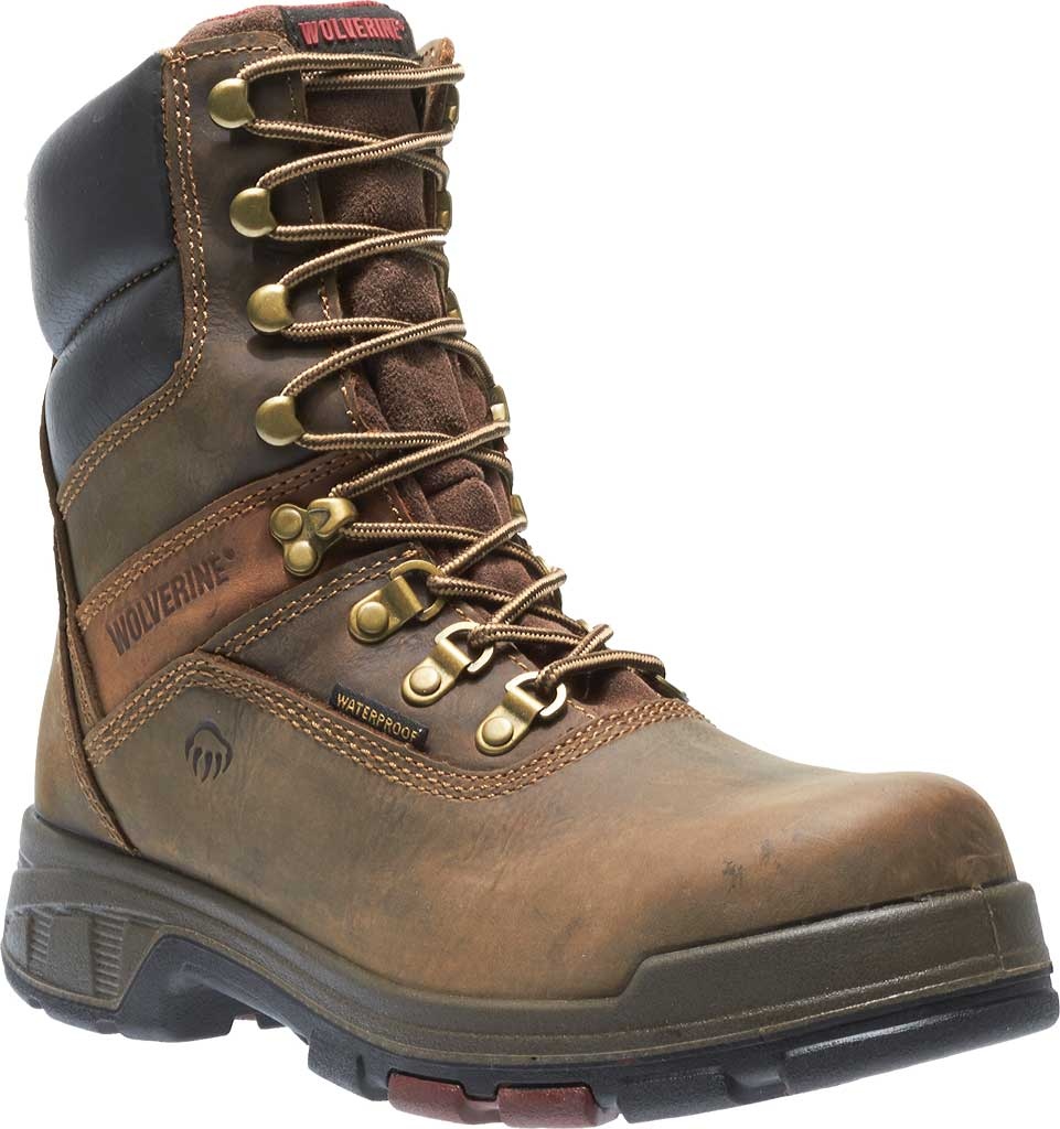 """Men's Wolverine Cabor EPX PC Dry Waterproof 8"""" Composite Toe Boot, Dark Brown, large, image 1"""