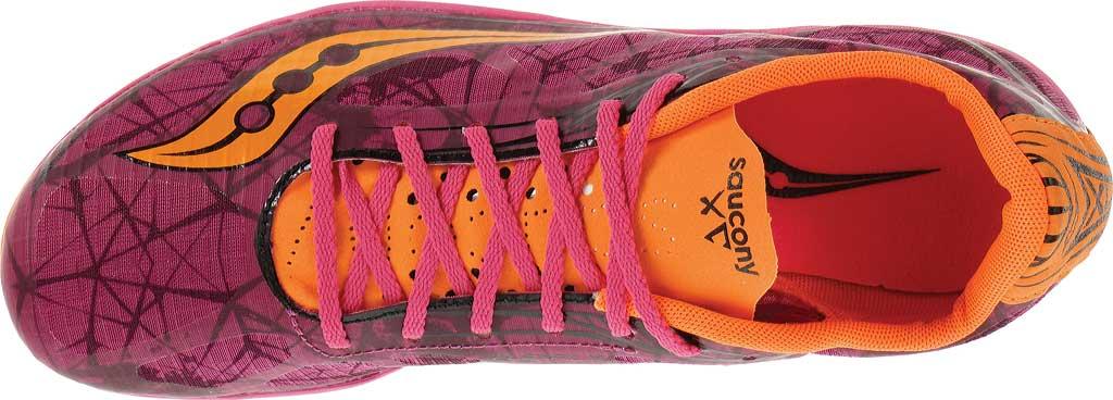 Women's Saucony Shay XC4 Spike, Raspberry/Vizi Orange, large, image 4