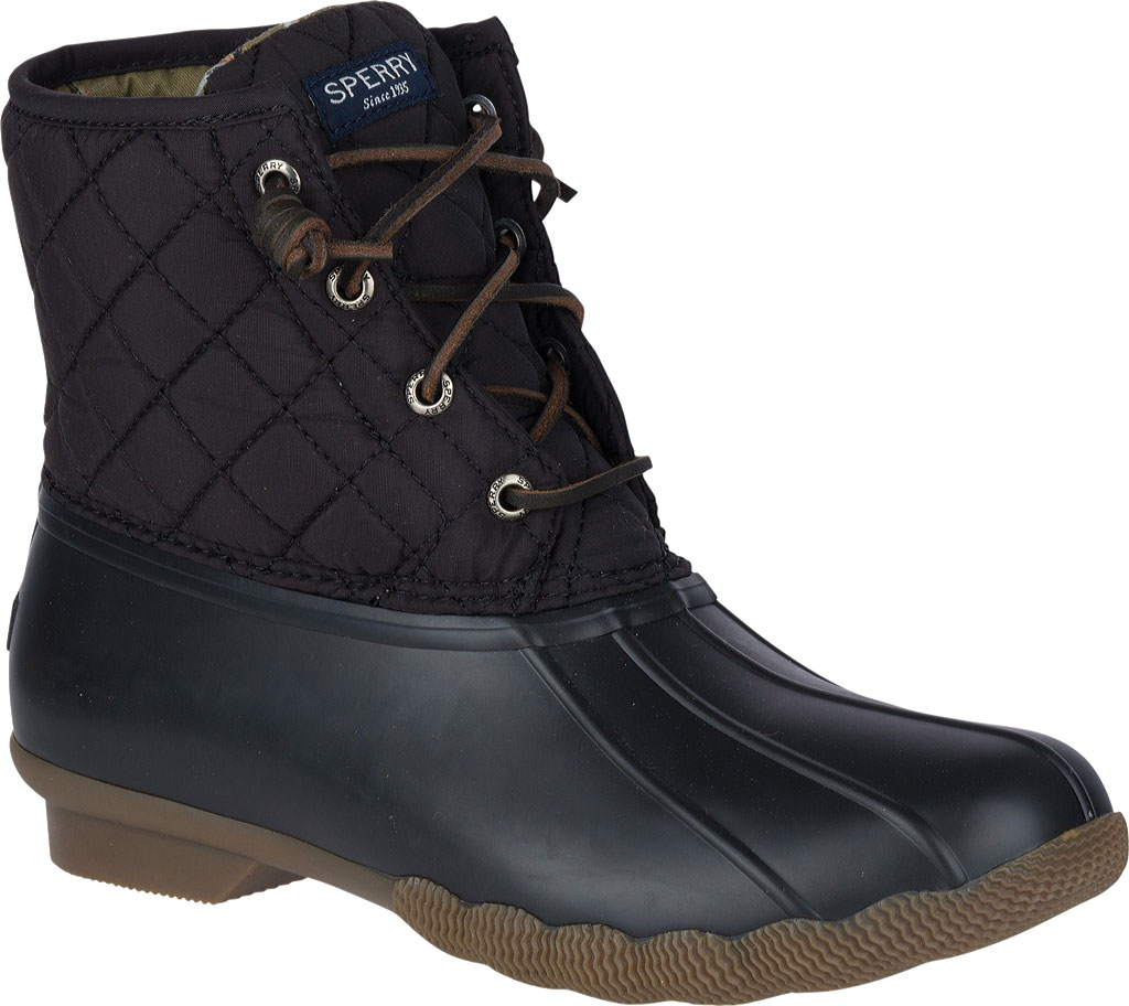 Women's Sperry Top-Sider Saltwater Duck Boot, Black Quilted Leather/Rubber, large, image 1