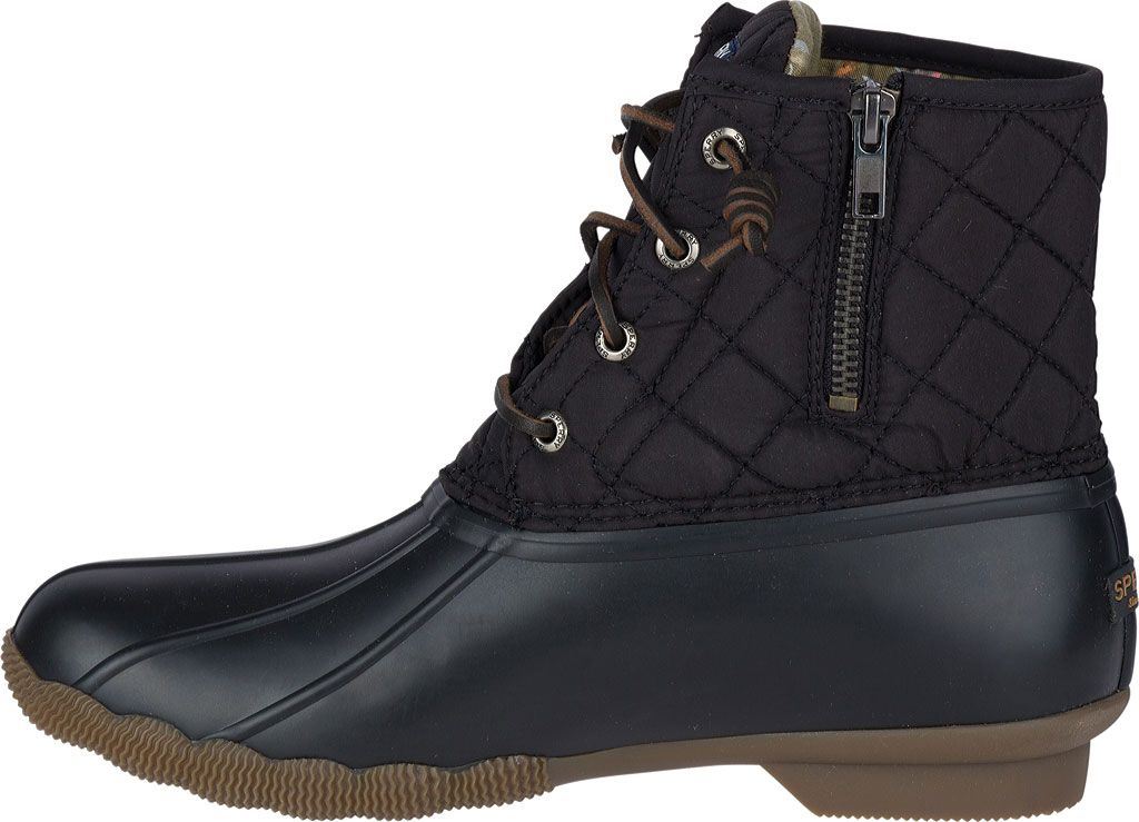 Women's Sperry Top-Sider Saltwater Duck Boot, Black Quilted Leather/Rubber, large, image 2