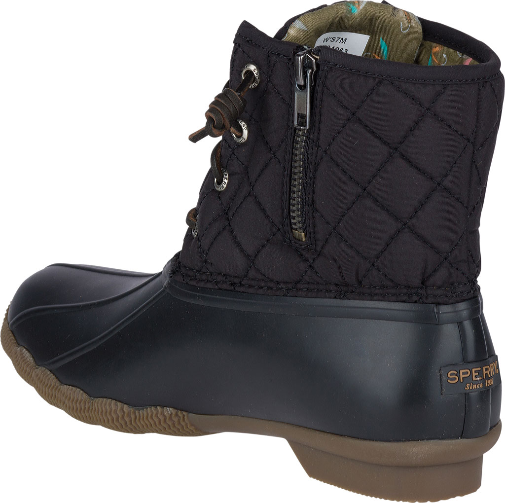 Women's Sperry Top-Sider Saltwater Duck Boot, Black Quilted Leather/Rubber, large, image 3
