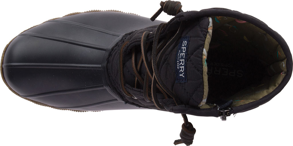 Women's Sperry Top-Sider Saltwater Duck Boot, Black Quilted Leather/Rubber, large, image 4