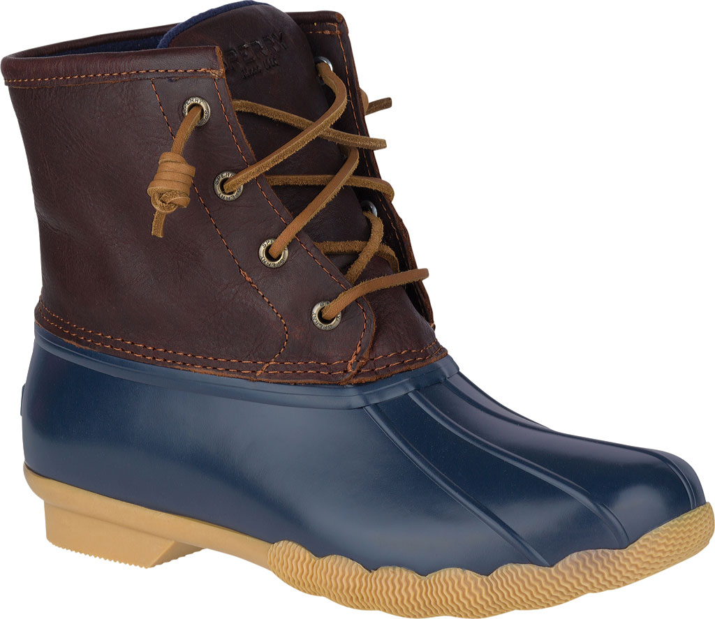 Women's Sperry Top-Sider Saltwater Duck Boot, Tan/Navy Leather/Rubber, large, image 1