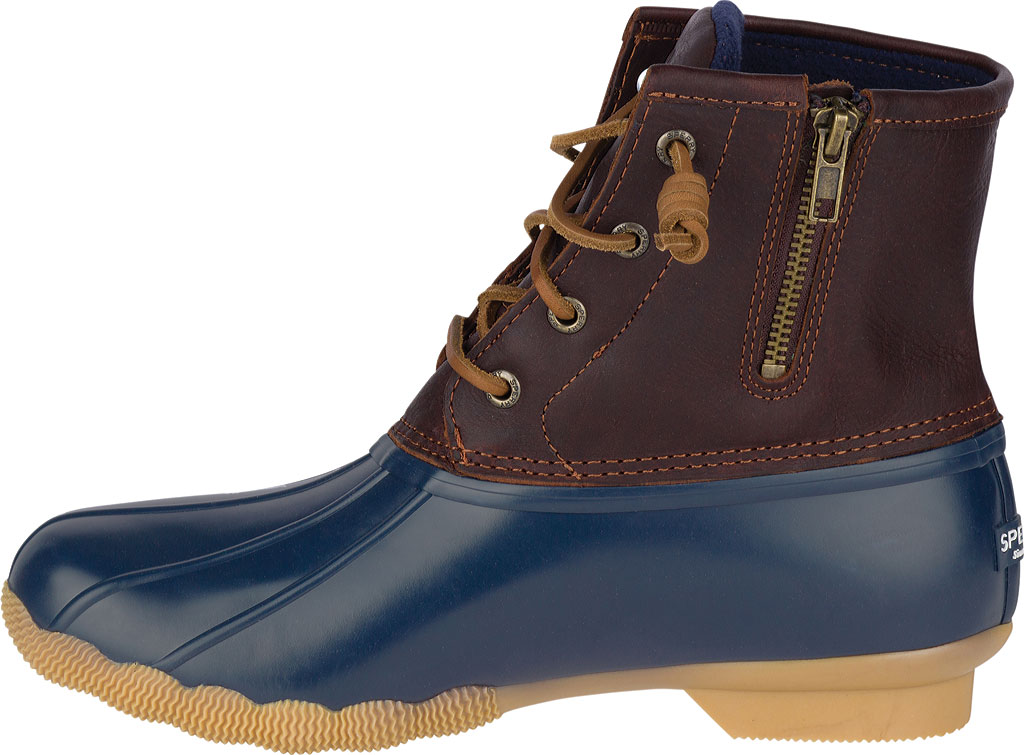 Women's Sperry Top-Sider Saltwater Duck Boot, Tan/Navy Leather/Rubber, large, image 2