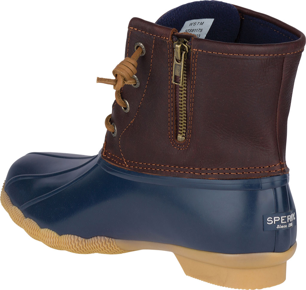 Women's Sperry Top-Sider Saltwater Duck Boot, Tan/Navy Leather/Rubber, large, image 3