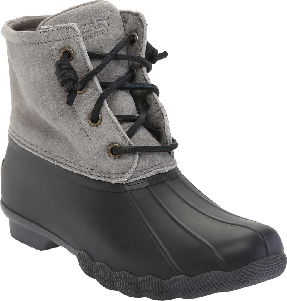 Women's Sperry Top-Sider Saltwater Duck Boot, Black/Grey Rubber/Leather, large, image 1