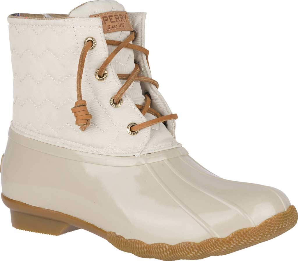 Women's Sperry Top-Sider Saltwater Duck Boot, Ivory Chevron Quilted Nylon, large, image 1