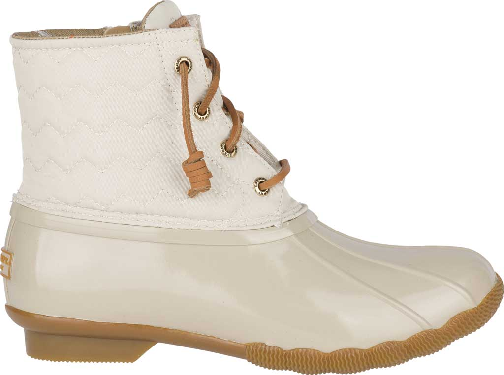 Women's Sperry Top-Sider Saltwater Duck Boot, Ivory Chevron Quilted Nylon, large, image 2