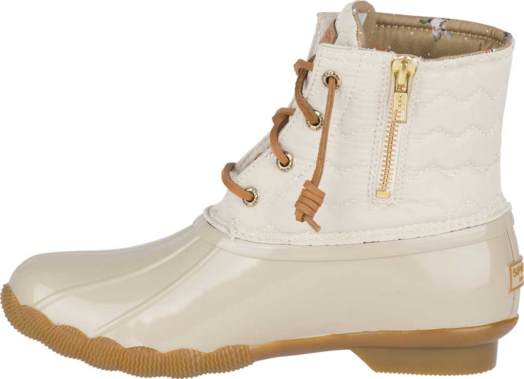 Women's Sperry Top-Sider Saltwater Duck Boot, Ivory Chevron Quilted Nylon, large, image 3