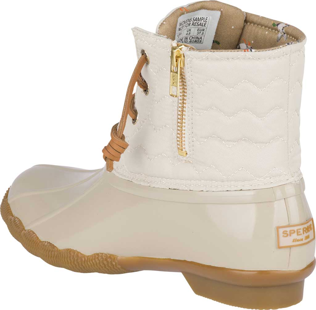 Women's Sperry Top-Sider Saltwater Duck Boot, Ivory Chevron Quilted Nylon, large, image 4