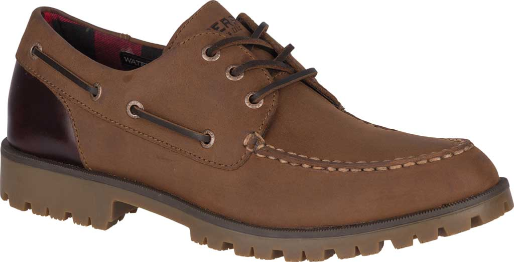 Men's Sperry Top-Sider A/O Lug 3-Eye, Brown/Buc Brown Leather, large, image 1