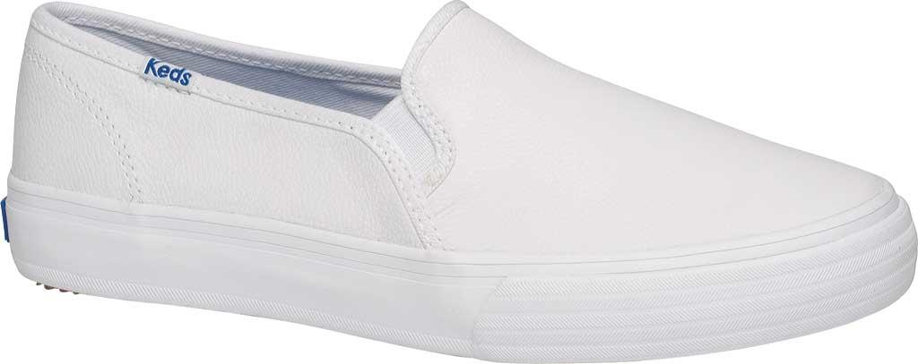Women's Keds Double Decker Slip-On, White Leather, large, image 1