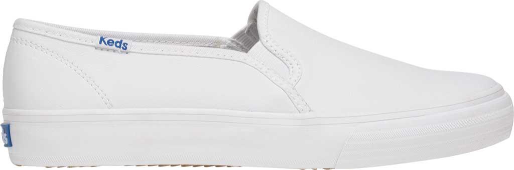 Women's Keds Double Decker Slip-On, White Leather, large, image 2